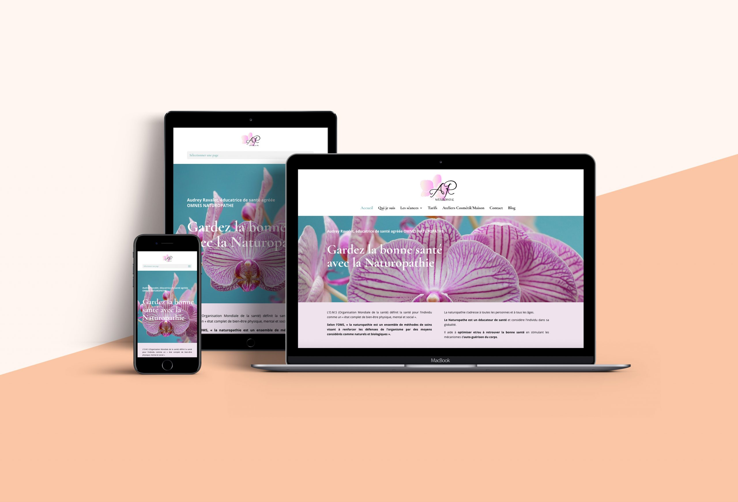 réalisation du site Internet vitrine d'Audrey Ravalet, naturopathe